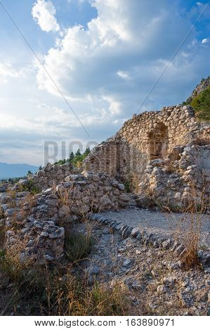 Italy Sulmona the ruins of Hercules sanctuary at the foot of the Morrone mountain
