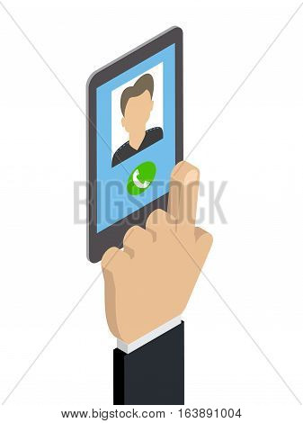 Receiving a phone call calling Caucasian man. Isometric vector