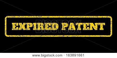 Yellow rubber seal stamp with Expired Patent text. Vector message inside rounded rectangular frame. Grunge design and unclean texture for watermark labels. Horisontal sticker on a blue background.