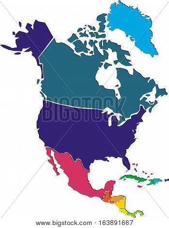 Colorful political vector map of North America