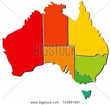 Colorful vector map of Australia with regions