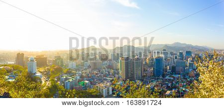 Seoul Downtown Aerial View Panoramic Cityscape