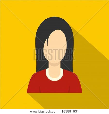 Brunette with long hair icon. Flat illustration of brunette with long hair vector icon for web isolated on yellow background