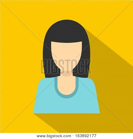 Brunette girl icon. Flat illustration of brunette girl vector icon for web isolated on yellow background