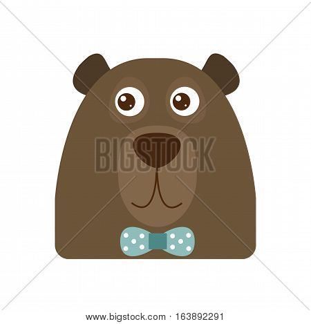 Vector illustrated portrait head of an adult brown bear. Cute funny animal with hipster bow tie. Forest beast mascot icon big silhouette. wildlife predator character.