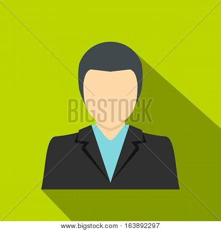 Young dark haired man in a suit icon. Flat illustration of young dark haired man in a suit vector icon for web isolated on lime background