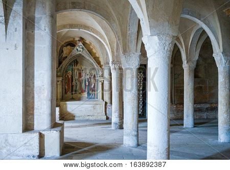 Sulmona Italy - September 8 2006: The St.Panfilo basilica and cathedral crypt