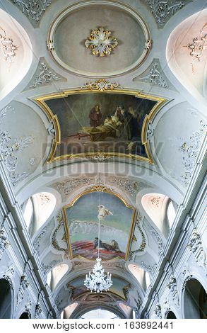 Sulmona Italy - September 8 2006: Paintings in the nave ceiling of the St.Panfilo basilica and cathedral