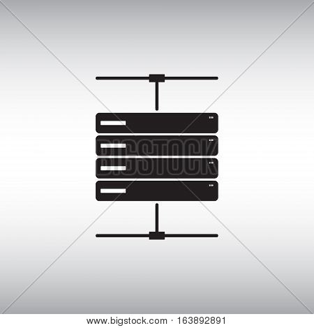Server flat vector icon. Isolated server vector sign. Data center symbol. Database vector illustration.