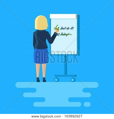 Woman writes on a flip chart. Clip art of girl stands with his back to the viewer. Vector illustration.