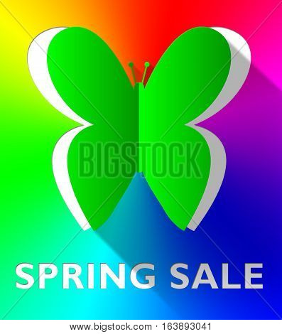 Spring Sale Butterfly Shows Bargain Offers 3D Illustration