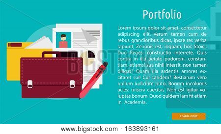 Portfolio Conceptual Banner | Great flat illustration concept icon and use for business, marketing, working, idea, event and much more.