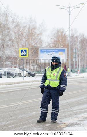 Kazan, Russia, 17 november 2016, Russian policeman in uniform in international Airport Kazan, telephoto
