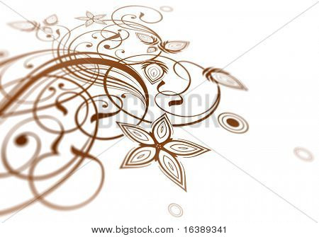 Vintage calligraphy floral ornament & dept of field