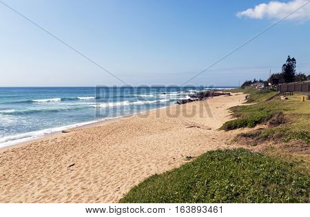 Dune Vegetation And Empty Beach Against Blue Ocean Skyline