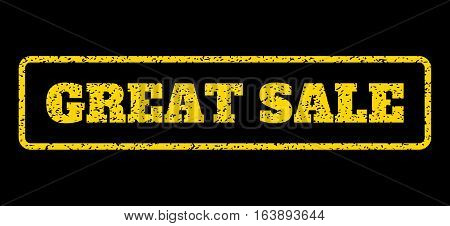 Yellow rubber seal stamp with Great Sale text. Vector caption inside rounded rectangular banner. Grunge design and dirty texture for watermark labels. Horisontal sticker on a blue background.