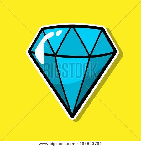 Diamond, jewelry patch badge, sticker, pin isolated on yellow. Colored Vector cartoon shine brilliant, adamant, gem stone. Cool luxury illustration. Modern fashion Pop Art comic style 80s 90s