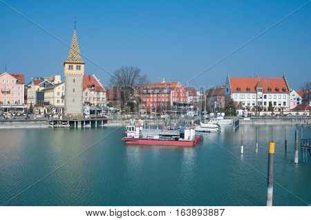 Harbour of Lindau, Lake Constance (Bodensee), spring day