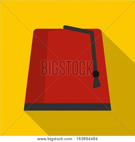 Red turkish fez icon. Flat illustration of turkish fez vector icon for web isolated on yellow background