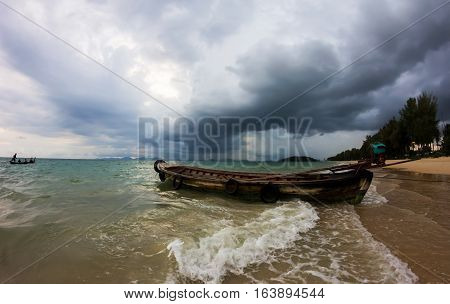 Tropical storm is coming, just before the big flood, Khlong Muang Beach, Krabi, Thailand
