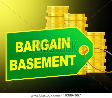 Bargain Basement Showing Retail Reduction 3D Illustration