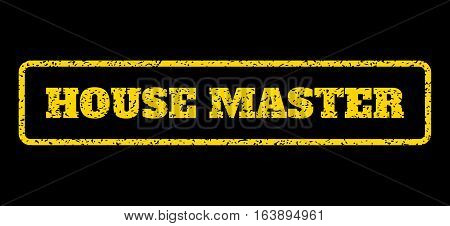 Yellow rubber seal stamp with House Master text. Vector message inside rounded rectangular shape. Grunge design and unclean texture for watermark labels. Horisontal sign on a blue background.