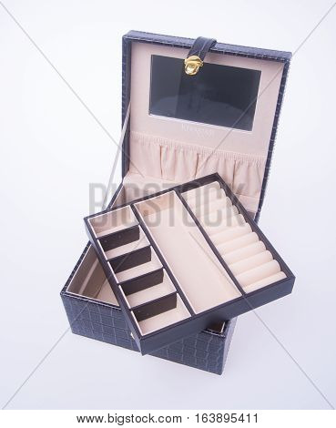 Jewelry Box Or Leather Jewelery Box On Background.
