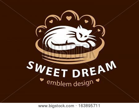 White cat sleeps on a bed pillow logo - vector illustration, emblem design