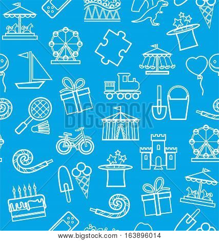 Children's entertainment and leisure, seamless background, blue, contour.  Vector background with objects for the entertainment of children. Linear white image on a blue field.