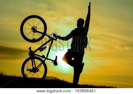 concept happy biker & biker silhouette & crazy biker