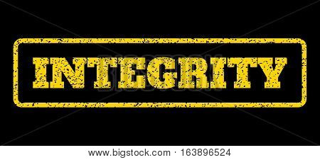 Yellow rubber seal stamp with Integrity text. Vector caption inside rounded rectangular frame. Grunge design and dust texture for watermark labels. Horisontal sign on a blue background.