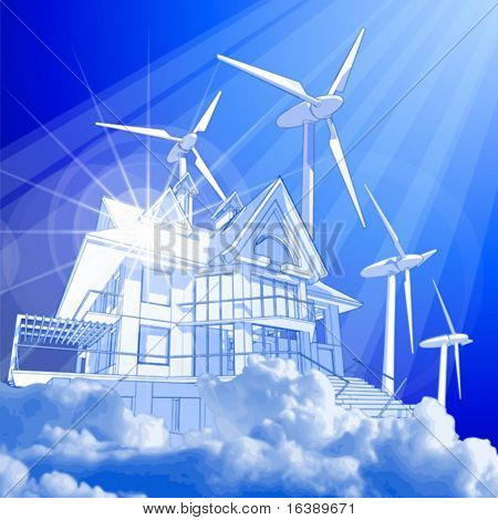 Ecology concept: wind-driven generators & house with solar power systems
