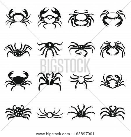 Various crab icons set. Simple illustration of 16 various crab vector icons for web