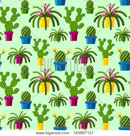 Cute cartoon cactus flowers seamless pattern illsutration