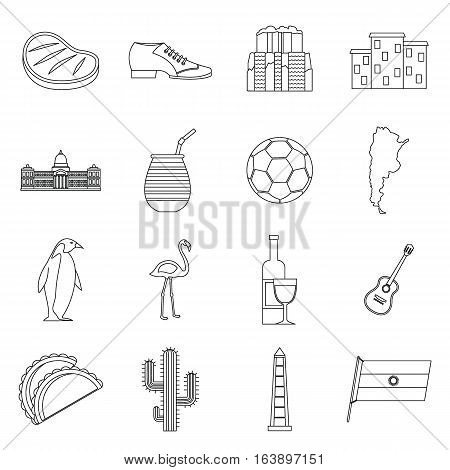 Argentina travel items icons set. Outline illustration of 16 Argentina travel items vector icons for web