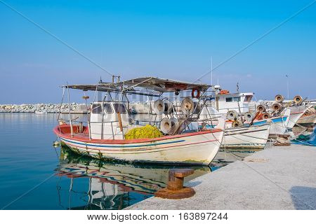 Greek fishing boats moored at harbour of Platamonas. Pieria Macedonia Greece Europe