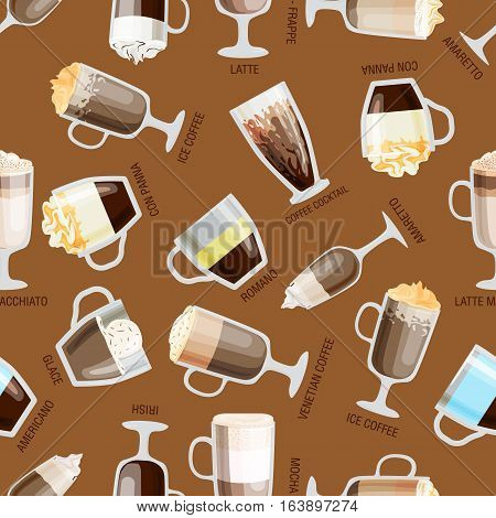 Seamless coffee pattern vector illustration. Natural hot retro beverage wallpaper. Aroma latte element food design. Caffeine restaurant decorative backdrop.