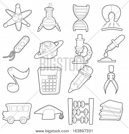 Science education icons set. Cartoon outline illustration of 16 science education vector icons for web