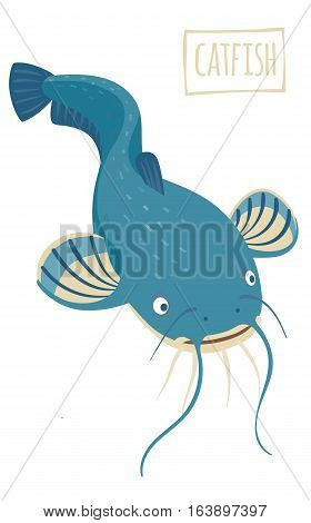 Blue Catfish with whiskers vector cartoon illustration