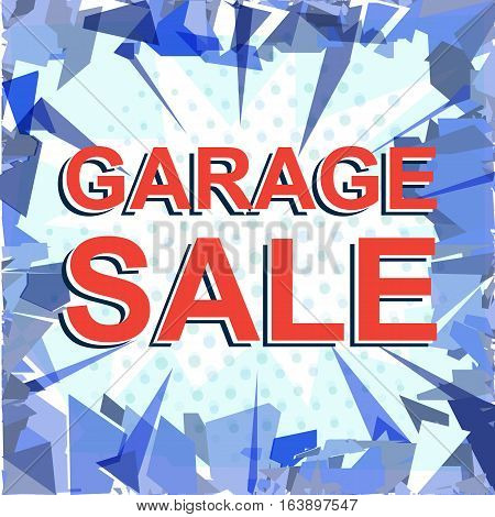 Red Striped Sale Poster With Garage Sale Text. Advertising Banner