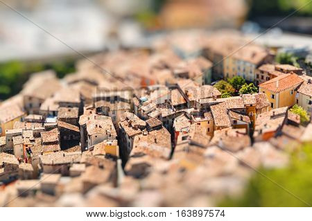 View on town Entrevaux France Europe. Miniature tilt shift lens effect.