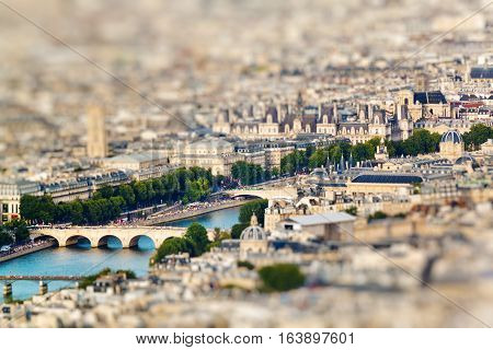Scenic View From The Top Of The Eiffel Tower. Paris, France. Miniature Tilt Shift Lens Effect.