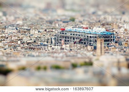 Panoramic View On Pompidou Museum From Montparnasse Tower, Paris. Miniature Tilt Shift Lens Effect.