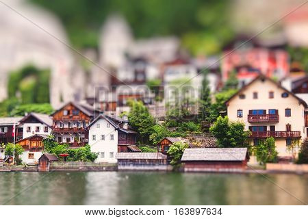 Houses of Hallstatt in Austria. Miniature tilt shift lens effect.