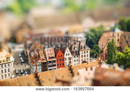 Strasbourg houses. France. Europe. Miniature tilt shift lens effect.