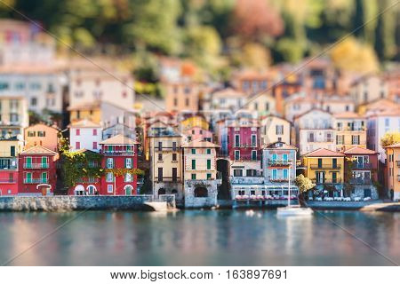 View of Varenna town. Lake and mountains. Como Lake Italy. Miniature tilt shift lens effect.