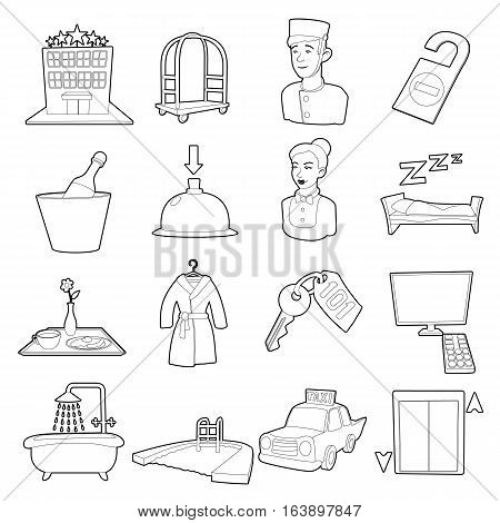 Hotel items set. Cartoon illustration of 16 hotel items vector icons for web