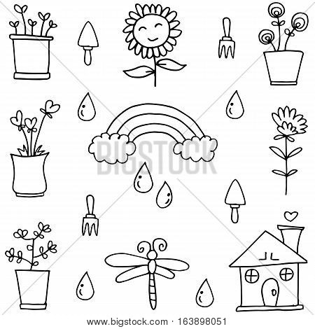 Doodle of object spring vector collection stock
