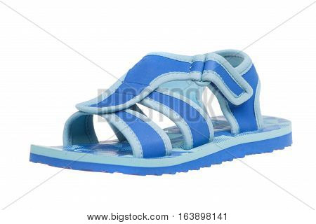 Blue childrens sandal isolated on white background