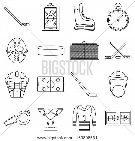 Hockey items icons set. Outline illustration of 16 hockey items vector icons for web